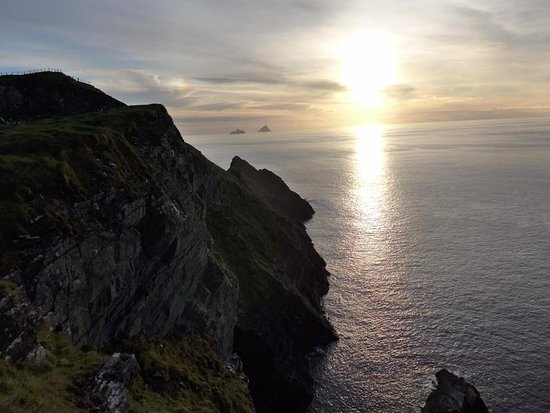Portmagee, Ireland: Sundown at Kerry Cliffs on a non rainy November day.