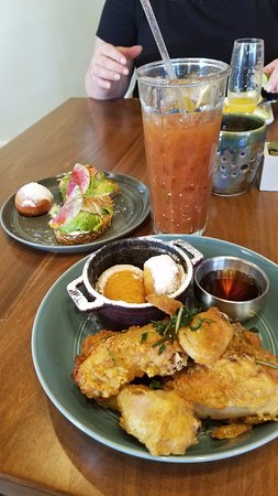... -Avocado Toast, Tomatillo Bloody Mary and Fried Chicken w/Beignets