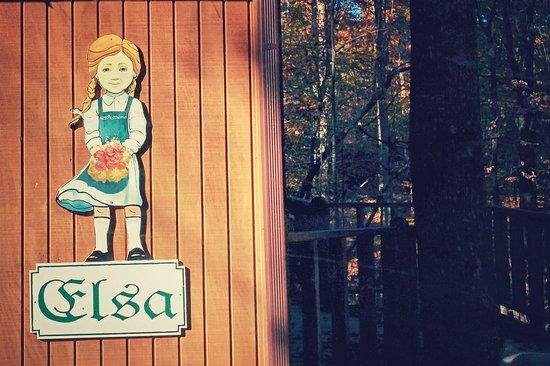 Alpine Cabins: Sweet custom signs adorn each cabin.