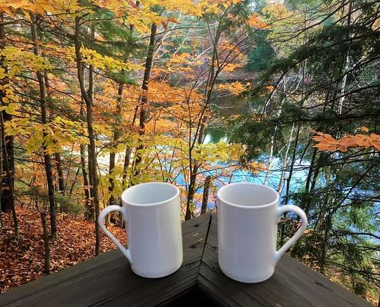 Madison, NH: coffee on the deck