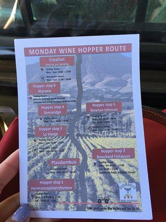 Hermanus, Republika Południowej Afryki: Map of the wineries