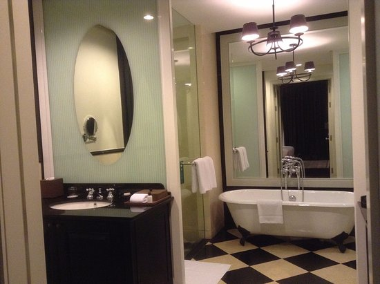 Eastern & Oriental Hotel: One corner of the two-room bathroom with shower off to one side