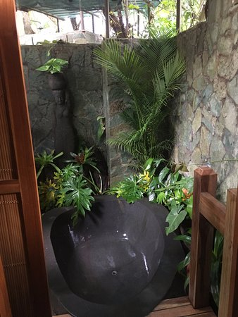 "Pranamar Villas and Yoga Retreat: This stone tub in the ""jungle"" was a fave amenity"