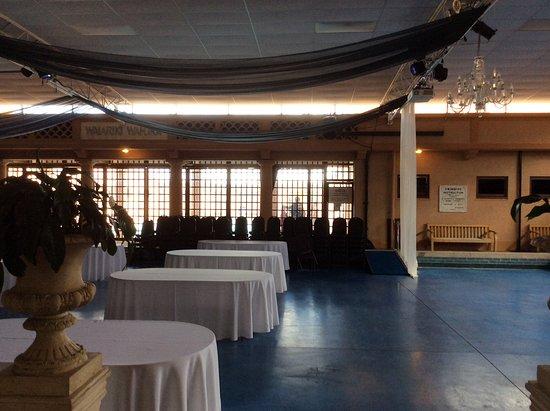 Inside the Blue Baths, set up for reception