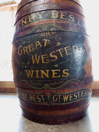 Best's Wines Great Western: One of the wine barrels in the barn
