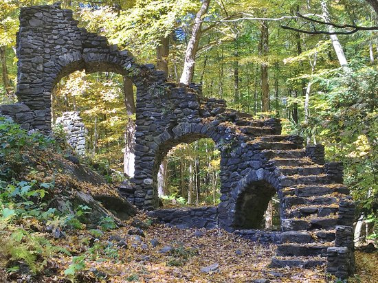 West Chesterfield, NH: Stone staircase at Mme Sherri Forest, Chesterfield, NH