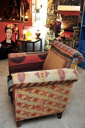 """Tamarin: Fauteuil """"patchwork"""", en tissu provenance: Inde"""
