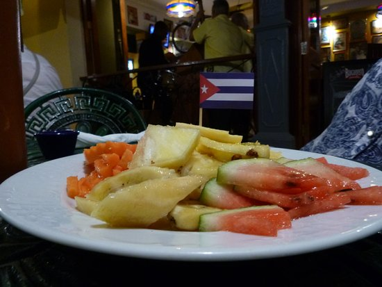 Plates of food served with the flag of one's country - we ended up with the Cuban