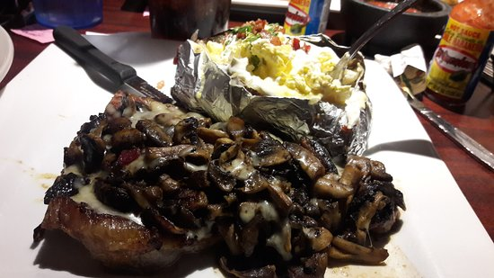 Mi Viejo: TBone smothered in Mushroom and Swiss Cheese