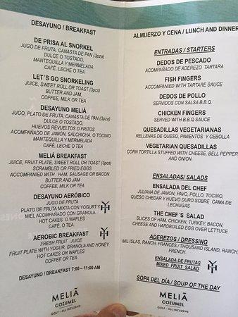 Melia Cozumel Golf - All Inclusive: Menú MUY LIMITADO del Room Service