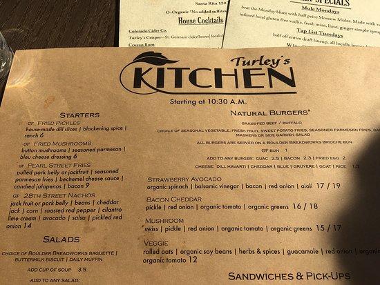 Turley S Kitchen Menu