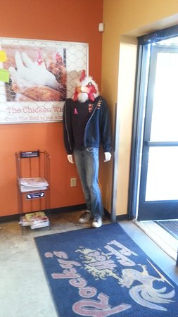 Rockys Hot Chicken Shack- South : Rocky greeting customers at the door.