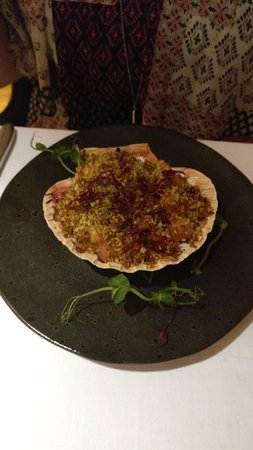 Cerise Restaurant & Bar: baked scallop and chorizo, pesto, glazed truffle