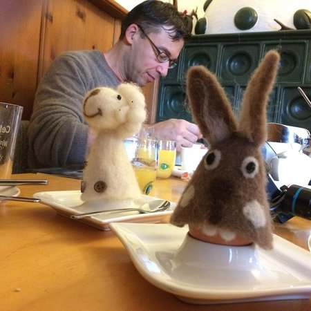 Maishofen, Austria: Animal cozy's for our fresh from the chicken coupe soft boiled eggs.