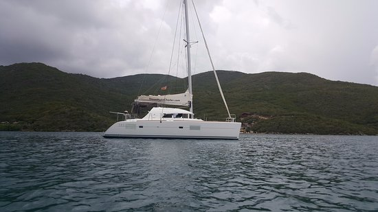 Beef Island, Tortola: Magic Bus anchored close to Leverick Bay