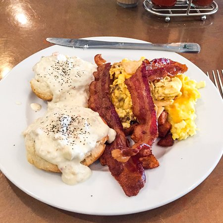 Silverdale, WA: Biscuits and gravy with bacon and the chorizo and eggs