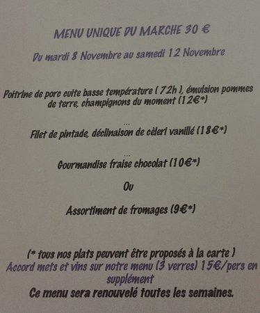 Aragon, Francja: Menu Unique du Marché (nouveau concept depuis octobre 2016)Fabien Galibert