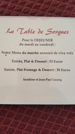 Sorgues, France: Formule pour le déjeuner
