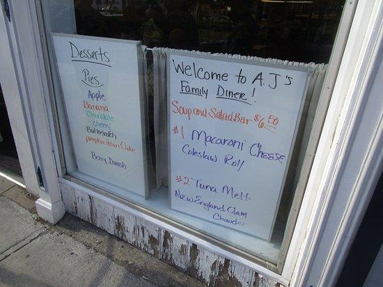 Ovid, NY: AJs - menu outside