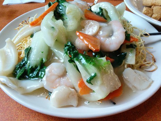 Garden Bakery: Seafood fried crispy noodles (Seafood Chow Mein)