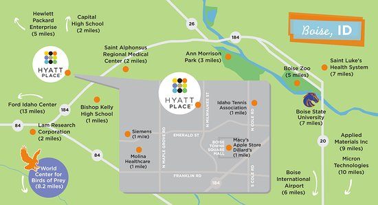Hyatt Place Boise/Towne Square: Local Area Attractions Map