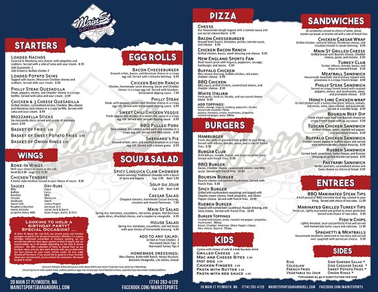 Our Menu Of Delicious Foods Picture Of Main Street