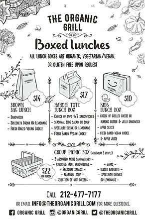 The Organic Grill : New! Boxed Lunches