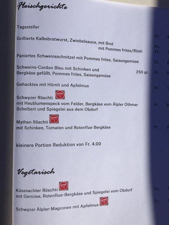 Schwyz, Swiss: Speisekarte