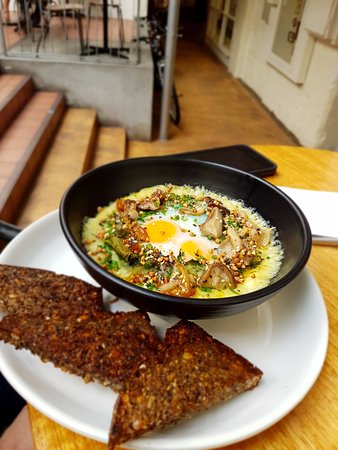 Tricycle Cafe: Baked eggs, mushrooms and Danish rye