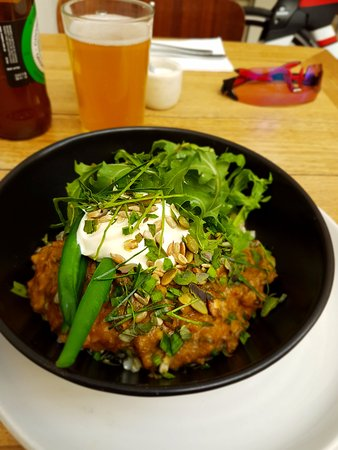 Tricycle Cafe: Brown rice bowl with coconut wallaby, fermented daikon, greens and yoghurt