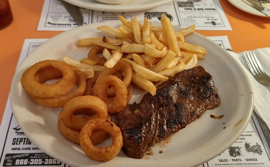 Jack's Steak House : 12oz. Sirloin with onion rings and fries.