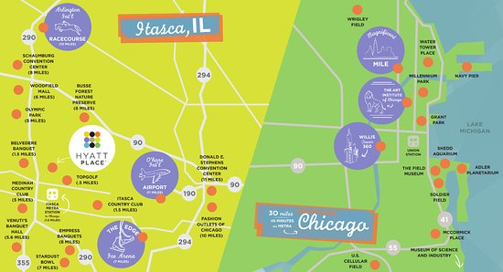 Itasca, IL: area attractions map