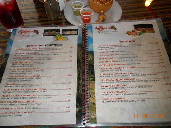 Charming El Patio Restaurant: Menu