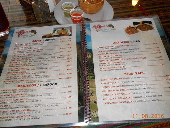 El Patio Restaurant: Menu