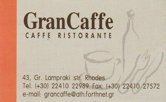 GranCaffe Carte De Visite