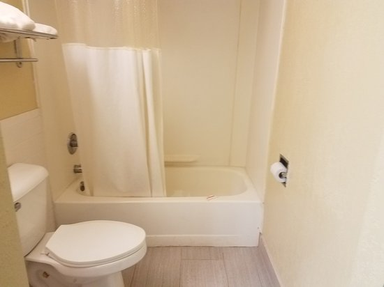 Ramada Clinton: This is supposed to be the Handicap accessible bathroom with transfer bench and grab bars!  The