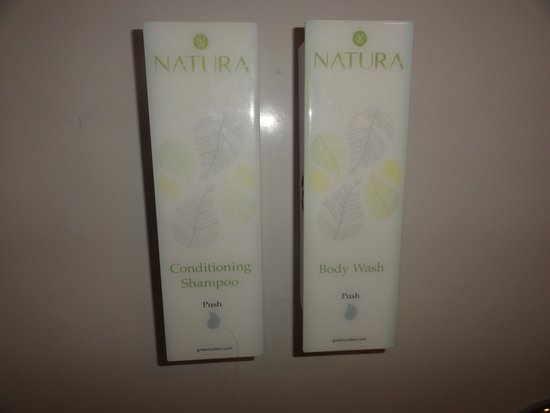 Cottonwood, AZ: soap & shampoo/conditioner on wall in shower