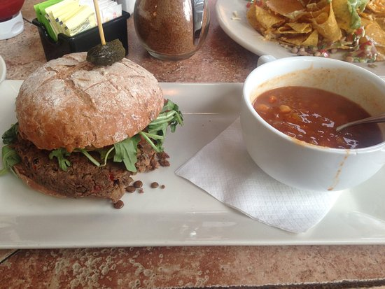 ‪‪Busboys and Poets‬: Vegan Burger with Moroccan Soup‬