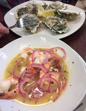 Bay City, OR: Fresh oysters and a shrimp dish,
