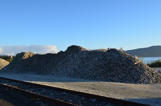 Bay City, OR: Huge piles of oyster shells!