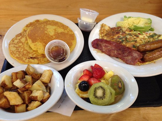 food thought pumkin pancakes turky bacon saursage avo fruit