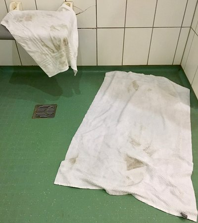 Livange, Luxembourg: This is how the towels did look like after swiped over the floor. IT'S DIRTY