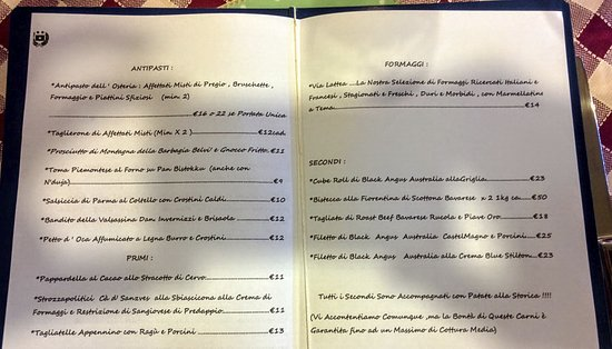 Asso, Италия: IL menu