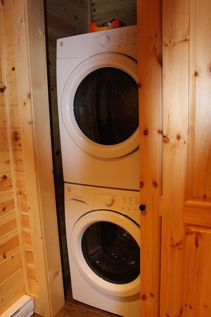 Brown's Bay Resort: New stacking washer and dryer were tucked behind a sliding door in the hall.