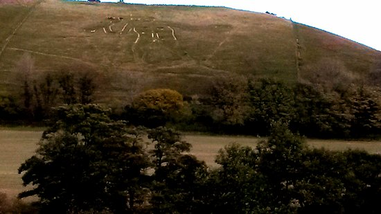 Cerne Abbas, UK: Taken during the lunch break: volunteers have scoured about a third of the Giant.