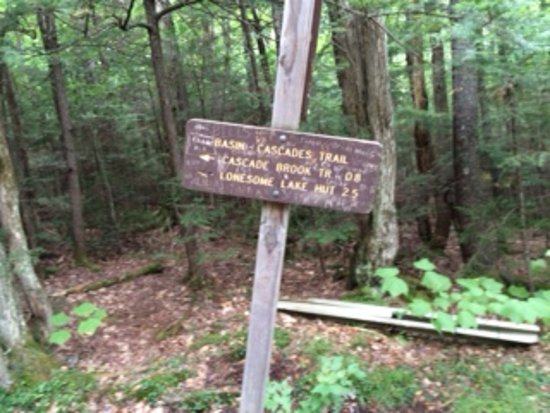Franconia, Nueva Hampshire: Sign showing choices going back to the Basin or other places