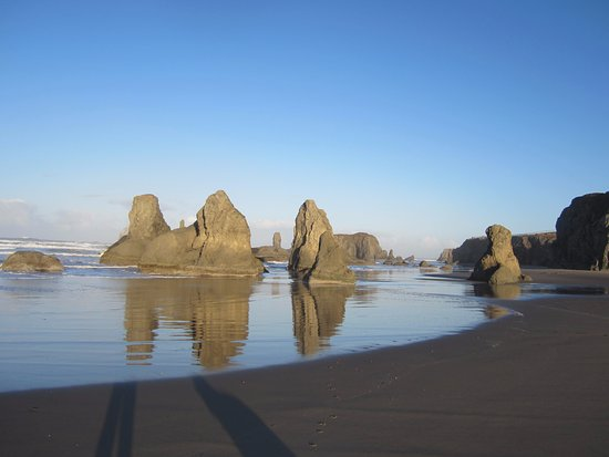 On a low tide these huge monoliths have caves to explore.