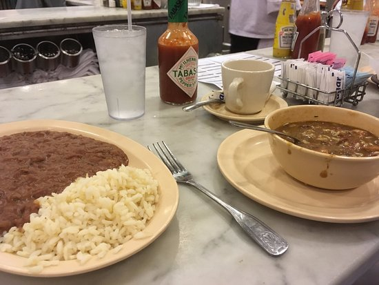 The Camellia Grill: Red beans and rice on left. Gumbo on the right