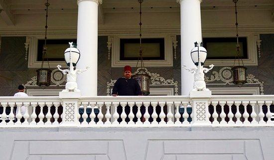 Taj Falaknuma Palace: Our guide, Mohammed Faiz, waiting for us