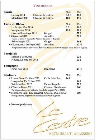 Passy, Francia: Liste des vins rouges - Wine list